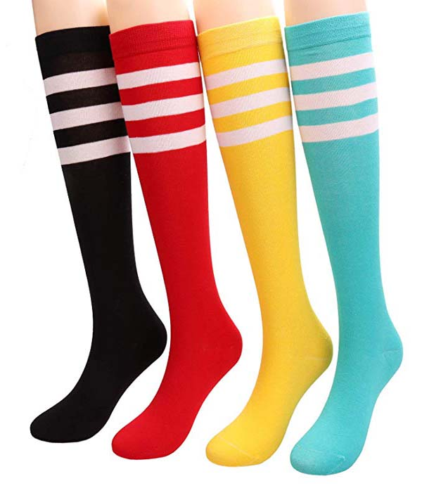 Knee High Socks For Women Ladies Stripe Casual Cotton Stockings #Knee High Socks #socks #fashion #trendypins