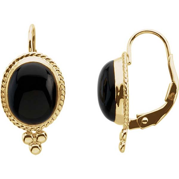 Black Onyx Lever Back Earrings in 14k Yellow Gold #lever backs #earrings #fashion #trendypins