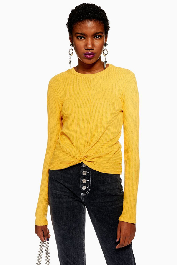 Long Sleeve Twist Waffle T-Shirt #long sleaved shirt #shirts #fashion #trendypins