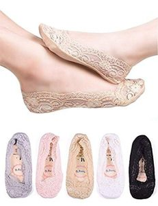 Women No Show Low Cut Lace Flats Non skid Boat Liner Footies Peds Socks