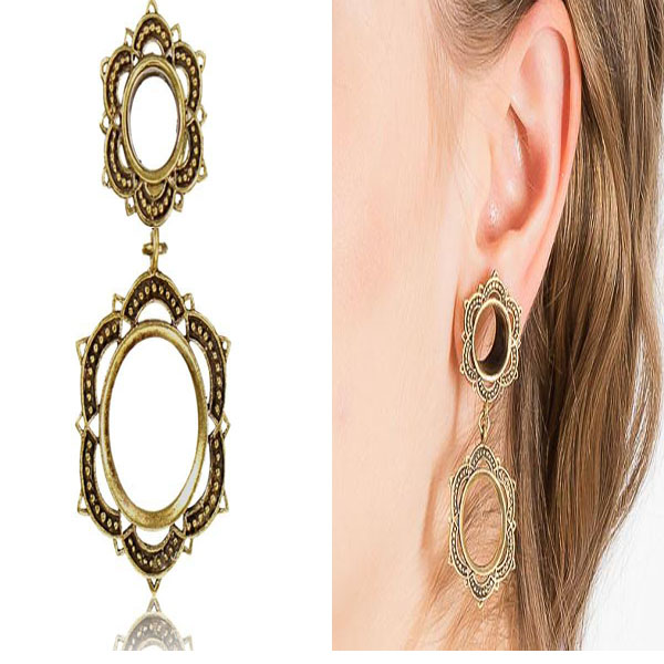 Mandala Dangle Ear Plugs - Brass #plugs #earrings #fashion #trendypins
