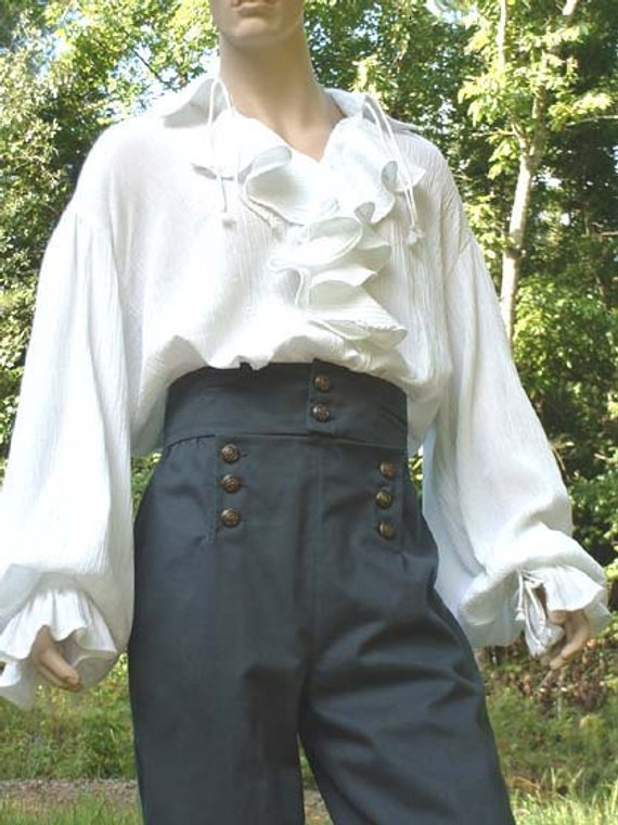 Poet Shirt Musketeer Shirt Renaissance Pirate Shirt Flounce Ruffled Front Men's Women's Made to Order #poet shirt #shirts #fashion #trendypins