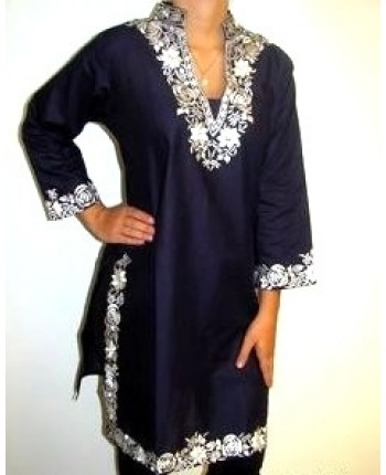 LONG DESIGNER NAVY TUNIC TOP INDIA TREND #tunic #shirts #fashion #trendypins