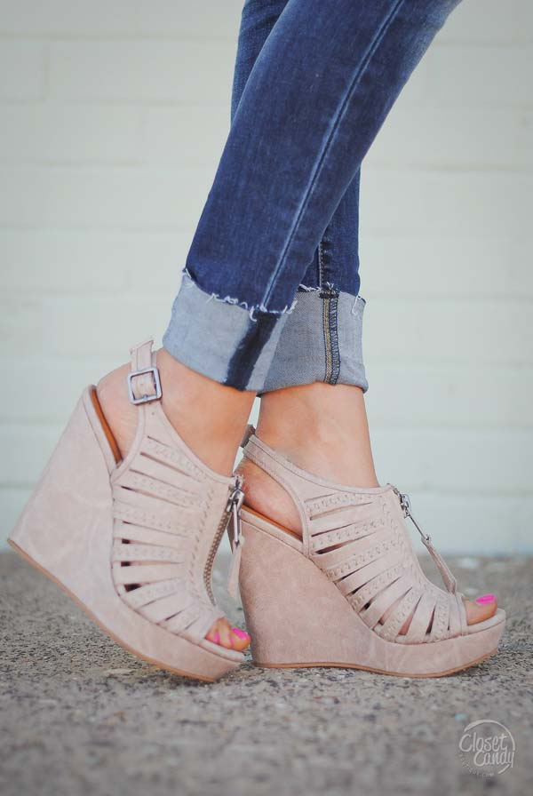 TOP OF THE WORLD WEDGE SANDAL - CREAM #heels #fashion #trendypins