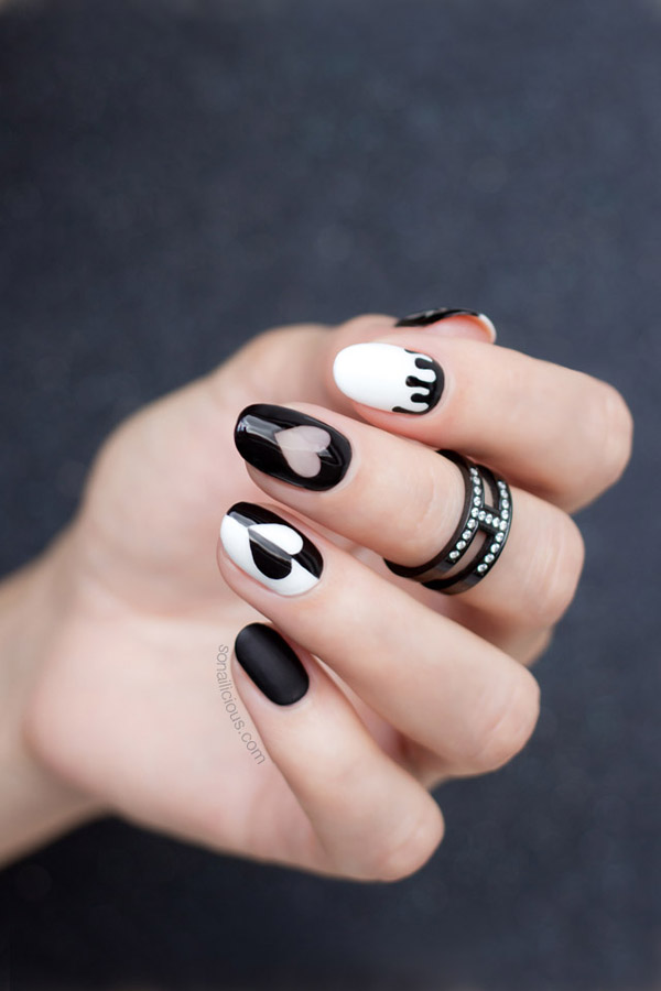 Valentines day nails in black  #beauty #nails #trendypins