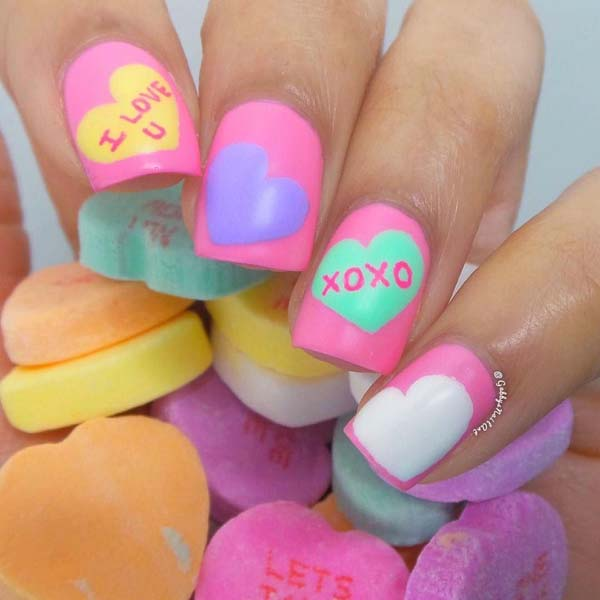 Candy heart nail design  #beauty #nails #trendypins