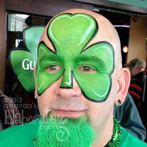 Clover face paint for St. Patrick's Day