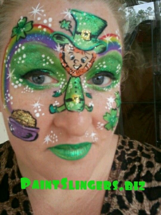 Face Painting St. Patrick's Day #St. Patrick's Day face painting #beauty #trendypins