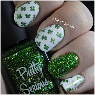 Green, Gold & White #St. Patrick's Day nails #nails #beauty #trendypins