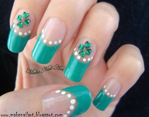 Four leaf clover nail art design in French tip
