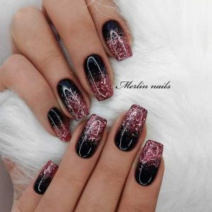French manicure black maroon