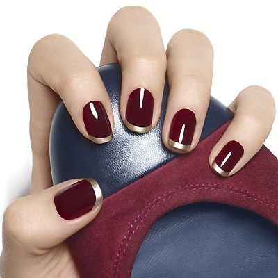 French manicure dark red gold #french manicure #nails #beauty #trendypins