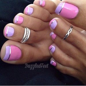 French manicure colorful toe nails