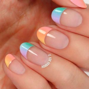 French manicure colourful