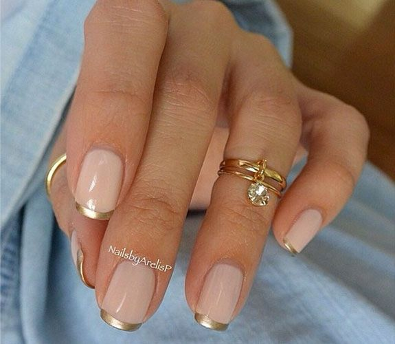 Pink and Gold Chrome Nails #french manicure #nails #beauty #trendypins