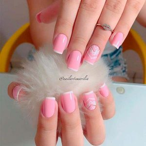 French manicure pink and white tips