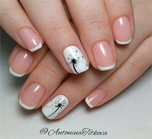 French manicure white black flower