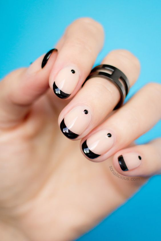Black Dotted French Manicure #french manicure #nails #beauty #trendypins