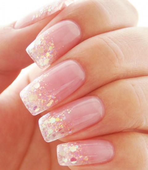 Cute Gold and Diamond Glitter on French Tip Nails #french manicure #nails #beauty #trendypins