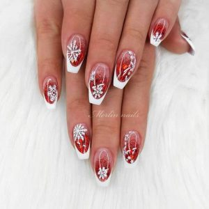 French manicure with red and white