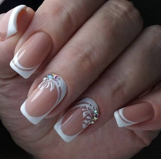 Bejeweled French Tip Nails in White #french manicure #nails #beauty #trendypins