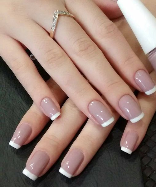 Amazing Creamy Grey Base With White Tips Nail #french manicure #nails #beauty #trendypins