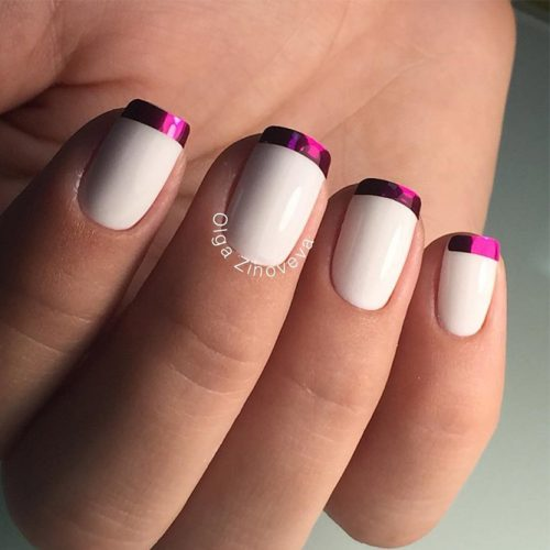 Unique White and Magenta French Tips #french manicure #nails #beauty #trendypins