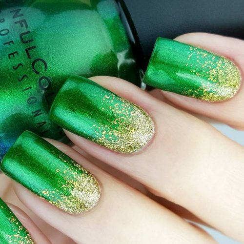 Rain of Gold #St. Patrick's Day nails #nails #beauty #trendypins