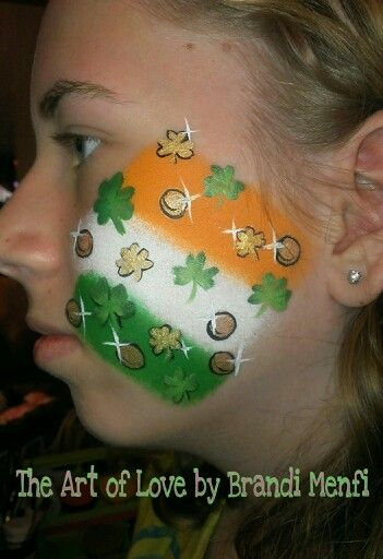 Irish for St. Patrick's Day #St. Patrick's Day face painting #beauty #trendypins