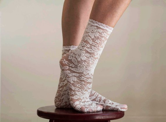 Lace Socks. Beautiful Ivory Floral Design. Ankle Socks. Women's Socks. Lace Trim. #lace socks #socks #fashion #trendypins