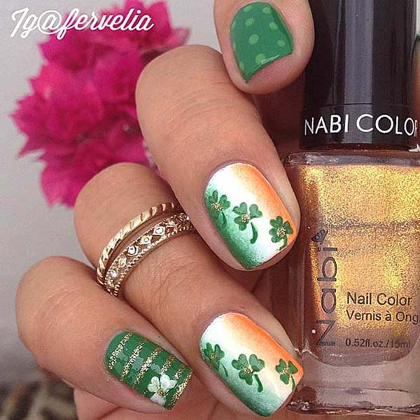 Gold and Spot #St. Patrick's Day nails #nails #beauty #trendypins