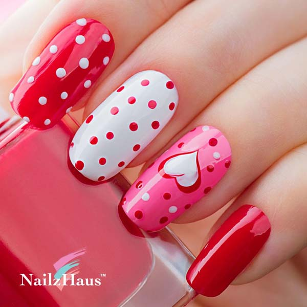 Red and White Polka Dot Nail Art with Heart  #beauty #nails #trendypins