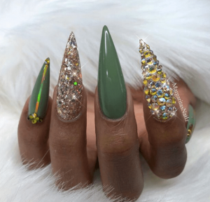 Sharp and fierce St Patrick's Day glam nails