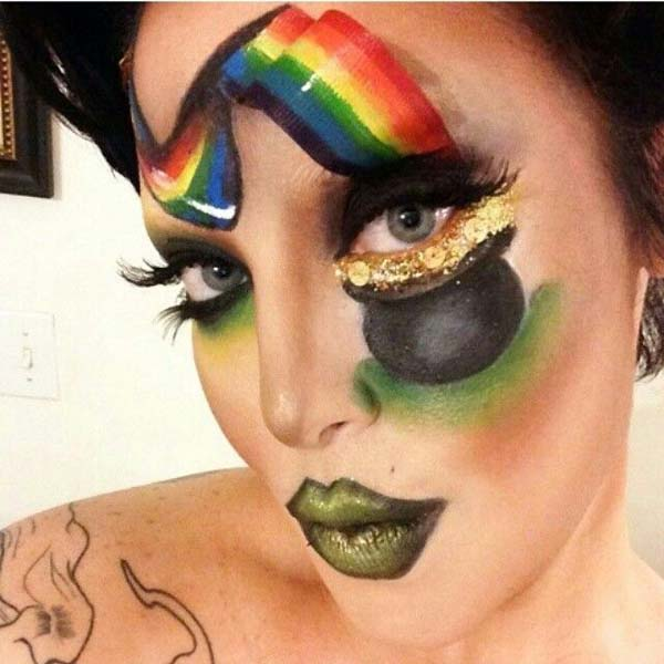 St. Patrick's Day Face Painting River Rainbow And Pot #St. Patrick's Day face painting #beauty #trendypins