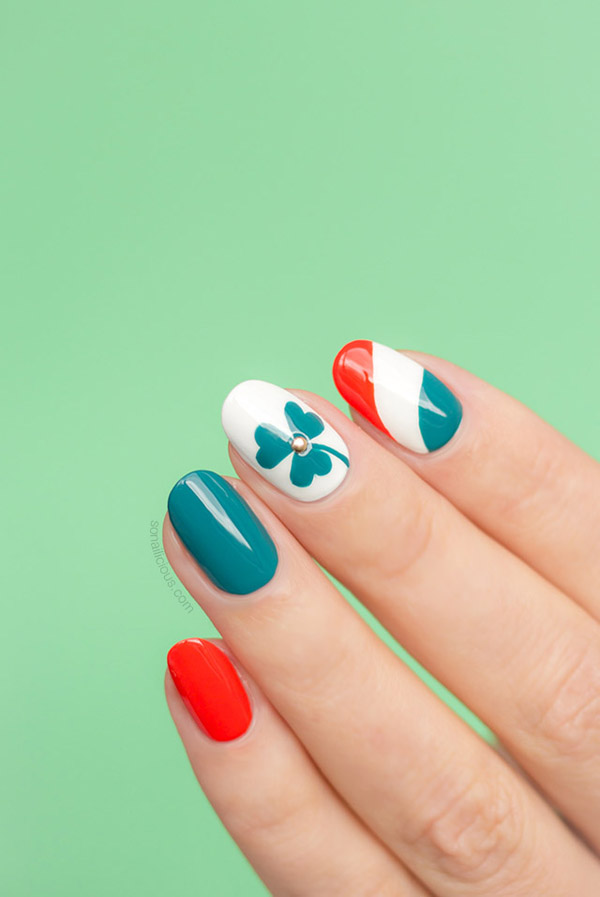 Red and Blue Design #St. Patrick's Day nails #nails #beauty #trendypins