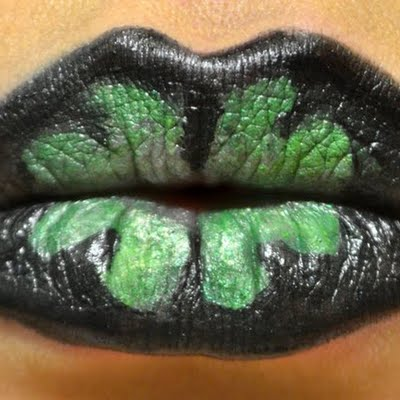 St. Patrick's Day black lips and green clovers #St. Patrick's day lips makeup #beauty #makeup #trendypins