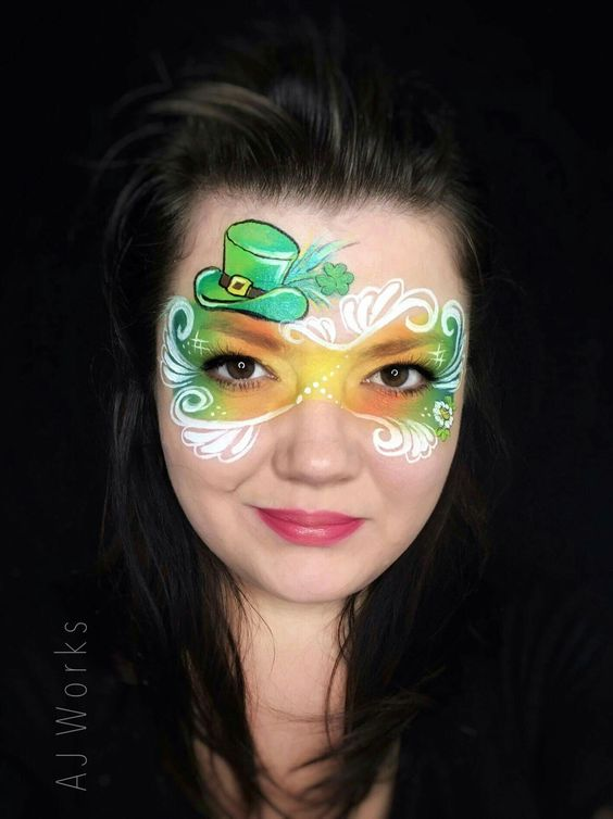 St. Patrick's Day face painting an artistic eye mask #St. Patrick's Day face painting #beauty #trendypins