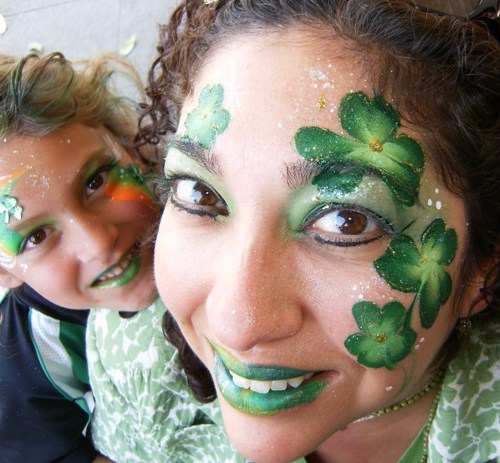 St. Patrick's Day face painting just green, green shamrocks #St. Patrick's Day face painting #beauty #trendypins
