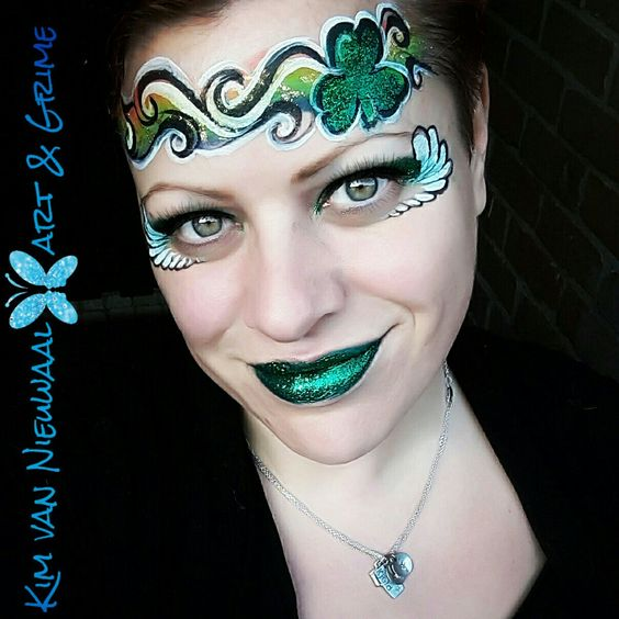 St. Patrick's Day face painting design #St. Patrick's Day face painting #beauty #trendypins