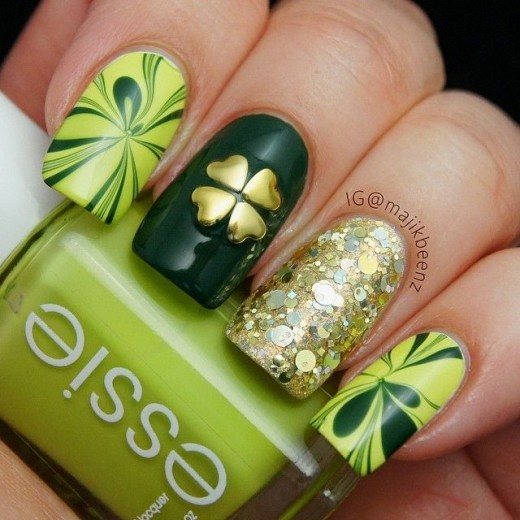 The Gold Clover #St. Patrick's Day nails #nails #beauty #trendypins