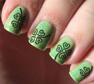 St Patrick's Day green clover stamped nails