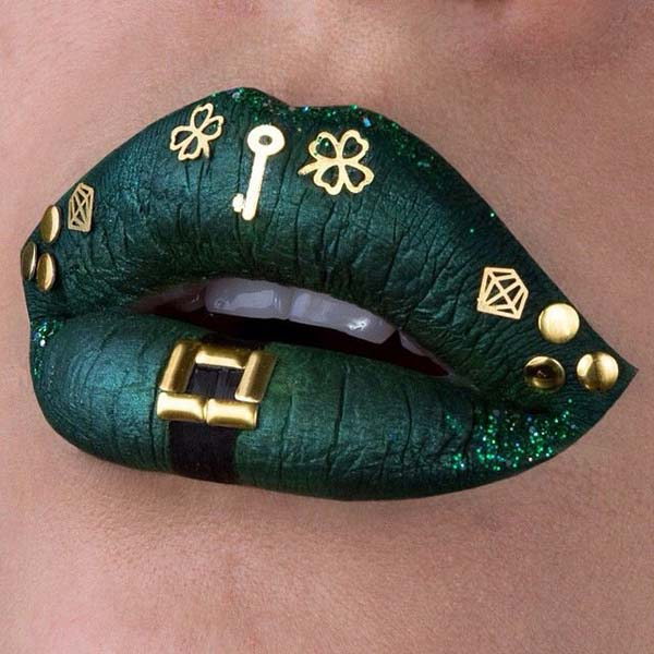 St. Patrick's Day Dark Green With Lucky Symbols #St. Patrick's day lips makeup #beauty #makeup #trendypins