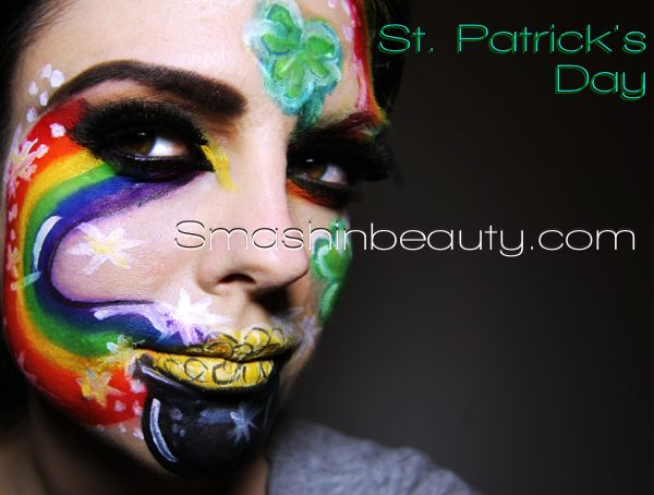 St. Patrick's Day face painting full of colors #St. Patrick's Day face painting #beauty #trendypins