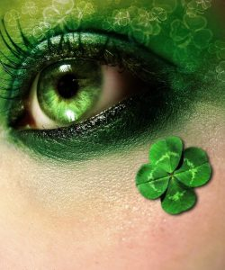 St. Patrick's Day makeup green eyeshadow and four leaves cover