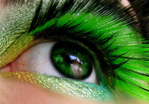 St. Patrick's Day makeup double shaded green lashes #beauty #makeup #St. Patrick's Day makeup #trendypins