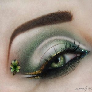 St. Patrick's Day makeup green with cover