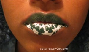 St. Patricks Day makeup with lip tattoo