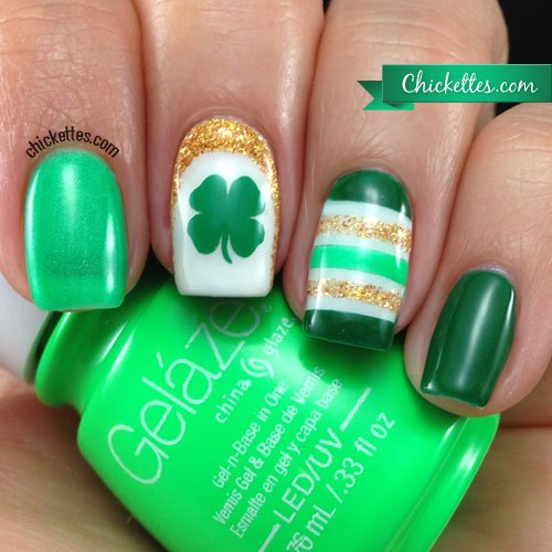Stripes, Glitter & Clovers #St. Patrick's Day nails #nails #beauty #trendypins