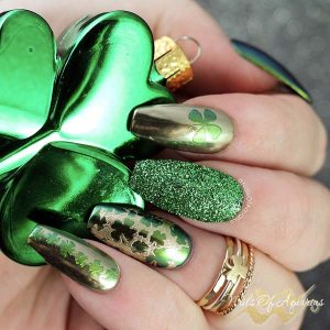 St Patrick's Day nail art with wildflowers stamping gel