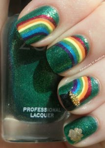 St Patrick's Day Nail Design With Rainbow